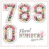 Vector los números florales para las camisetas, los carteles, la tarjeta y otra las aplicaciones Imágenes de archivo libres de regalías