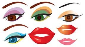 Vector los ojos y los labios para el diseño en blanco stock de ilustración