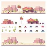 Vector los 2.os edificios polivinílicos bajos y la escena de la ciudad stock de ilustración