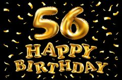 Vector los 56.os globos del oro de la celebración del feliz cumpleaños y los brillos de oro del confeti diseño del ejemplo 3d par Foto de archivo libre de regalías