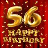 Vector los 56.os globos del oro de la celebración del feliz cumpleaños y los brillos de oro del confeti diseño del ejemplo 3d par Imagen de archivo