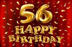 Vector los 56.os globos del oro de la celebración del feliz cumpleaños y los brillos de oro del confeti diseño del ejemplo 3d par Fotos de archivo