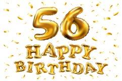 Vector los 56.os globos del oro de la celebración del feliz cumpleaños y los brillos de oro del confeti diseño del ejemplo 3d par Fotografía de archivo