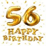 Vector los 56.os globos del oro de la celebración del feliz cumpleaños y los brillos de oro del confeti diseño del ejemplo 3d par Fotografía de archivo libre de regalías