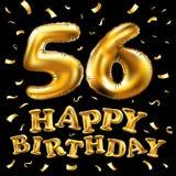 Vector los 56.os globos del oro de la celebración del feliz cumpleaños y los brillos de oro del confeti diseño del ejemplo 3d par Imagenes de archivo