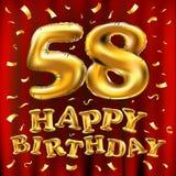 Vector los 58.os globos del oro de la celebración del feliz cumpleaños y los brillos de oro del confeti diseño del ejemplo 3d par Fotos de archivo