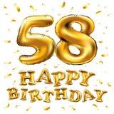 Vector los 58.os globos del oro de la celebración del feliz cumpleaños y los brillos de oro del confeti diseño del ejemplo 3d par Imagen de archivo