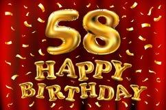 Vector los 58.os globos del oro de la celebración del feliz cumpleaños y los brillos de oro del confeti diseño del ejemplo 3d par Fotos de archivo libres de regalías
