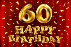 Vector los 60.os globos del oro de la celebración del feliz cumpleaños y los brillos de oro del confeti diseño del ejemplo 3d par Fotos de archivo libres de regalías