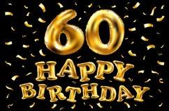 Vector los 60.os globos del oro de la celebración del feliz cumpleaños y los brillos de oro del confeti diseño del ejemplo 3d par ilustración del vector