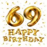 Vector los 69.os globos del oro de la celebración del feliz cumpleaños y los brillos de oro del confeti diseño del ejemplo 3d par Stock de ilustración