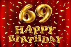Vector los 69.os globos del oro de la celebración del feliz cumpleaños y los brillos de oro del confeti diseño del ejemplo 3d par Libre Illustration