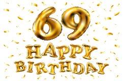 Vector los 69.os globos del oro de la celebración del feliz cumpleaños y los brillos de oro del confeti diseño del ejemplo 3d par Ilustración del Vector
