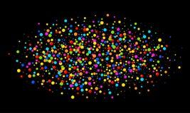 Vector los papeles redondos del arco iris de los colores del confeti oval brillante colorido de la nube aislados en fondo negro P Imagen de archivo