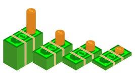 Vector los paquetes de billetes de banco del dólar en diversos ángulos Pila de ejemplo isométrico del efectivo con la pila de mon stock de ilustración