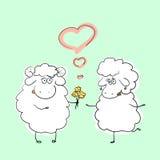 Vector los pares del ejemplo de los caracteres dibujados mano de las ovejas de la historieta en la situación romántica Fotos de archivo libres de regalías