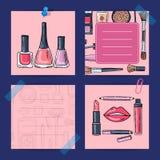 Vector los productos de maquillaje dibujados mano, esmaltes de uñas, lápices labiales libre illustration