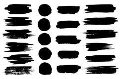 Vector los puntos negros de la brocha, las líneas del highlighter o las gotas horizontales del marcador del rotulador Rotulador o Foto de archivo