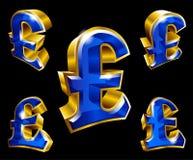 Vector los símbolos de oro de la libra esterlina en el estilo 3D stock de ilustración