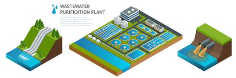 Vector los tanques de almacenamiento isométricos en depuradora de aguas residuales ilustración del vector