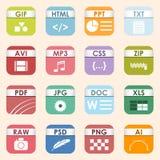Vector los tipos de archivo cuadrados y da formato al sistema del icono de las etiquetas Símbolo del documento de la presentación Imagen de archivo libre de regalías