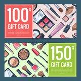 Vector los vales del carte cadeaux para los productos de belleza con los productos de maquillaje dibujados mano libre illustration