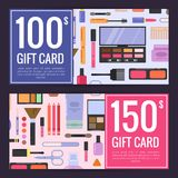 Vector los vales del carte cadeaux para los productos de belleza con maquillaje y skincare libre illustration