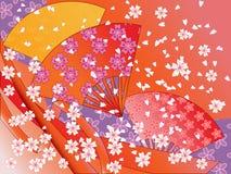 Vector los ventiladores, las cintas y las flores japoneses ilustración del vector
