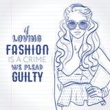 Vector los zapatos vestidos muchacha del inconformista ante el tribunal, top con el peplum, gafas de sol, bosquejo en una página  Imagenes de archivo