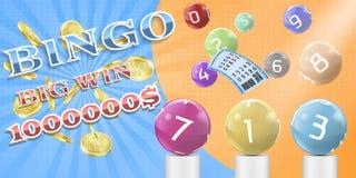 Vector lottery bingo game poster, banner template. Vector lottery bingo game poster, banner template illustration. Lotto keno, bingo gambling advertising Stock Photo