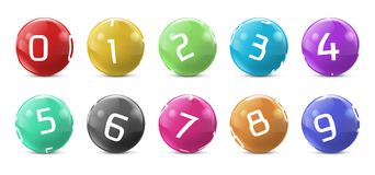 Vector Lotto, Bingo Colored Balls With Numbers Royalty Free Stock Photo