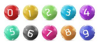 Vector lotto, bingo colored balls with numbers. Vector lotto colored balls with numbers. Lottery bingo gambling spheres. Snooker, billiard sport game realistic vector illustration