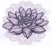Vector Lotus flower, ethnic art. stock illustration