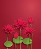 Vector lotus flower. Paper cut style vector illustration