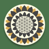 Vector Lotus Mandala with Flower of Life Symbol Stock Images
