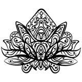 Vector Lotus ornamental, tatuaje zentangled étnico stock de ilustración