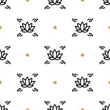 Vector lotus seamless pattern, yoga background. Flower lotos line icons Royalty Free Stock Image
