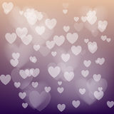 Vector love abstract background. Shiny hearts bokeh light Valentine`s day.  royalty free illustration