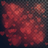 Vector love abstract background. Shiny hearts bokeh light Valentine`s day on transparency grid.  vector illustration