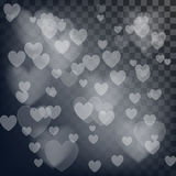 Vector love abstract background. Shiny hearts bokeh light Valentine`s day on transparency grid.  stock illustration