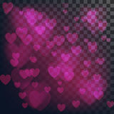 Vector love abstract background. Shiny hearts bokeh light Valentine`s day on transparency grid.  royalty free illustration