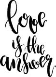 Vector Love is the answer lettering. Hand drawn text calligraphy for Valentine Day greeting card  on white Royalty Free Stock Photo