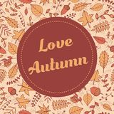 Vector Love Autumn banner with pattern containing maple and oak leaves, tree branches, acorns and berries Royalty Free Stock Photography