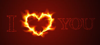 Vector love card. With heart of the fire Stock Photos