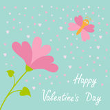 Vector love card. Heart flower Flying butterfly. Happy Valentines Day card. Flat design. Blue sky background. Stock Photos