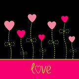 Vector love card. Heart flowers. Black, pink and g Royalty Free Stock Images