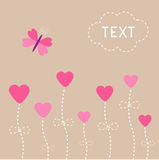 Vector love card. Heart flowers. Butterfly. Stock Image