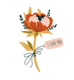 Vector love card with peony and tag `I love you`. Vector hand drawn element for valentine`s day. Royalty Free Stock Photos
