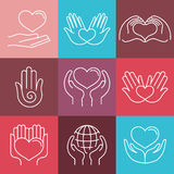Vector love and care round emblems in linear style Royalty Free Stock Photo