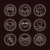 Vector love and care round emblems in linear style Stock Photo